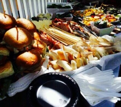 Beautiful day in Spring for a Garden party. Burbank Caterers always happy to serve you.