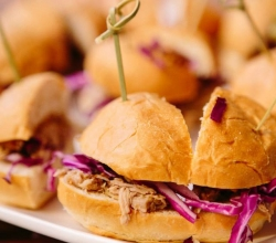 """House Pulled Pork Sliders"" Bacon Maple Peanut Butter Spread with Pulled Pork, Onions & Cabbage"