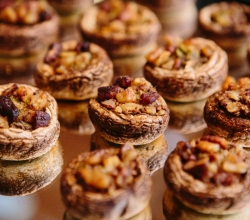 """House Spinach & Artichoke Stuffed Mushroom Caps"" Filled with Spinach, Artichokes, & Cheese Topped with Walnuts & Pecans"