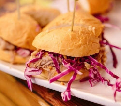 "House Pulled Pork Sliders"" Bacon Maple Peanut Butter Spread with Pulled Pork, Onions & Cabbage"
